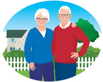 Elderly husband and wife are in their household Stock Photography
