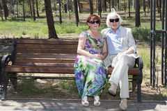 Elderly husband and wife for a walk Royalty Free Stock Photos