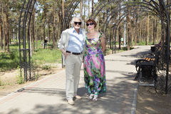 Elderly husband and wife for a walk Stock Photography