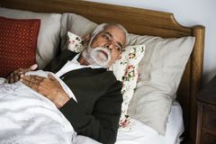 An elderly Indian man at the retirement house Royalty Free Stock Images