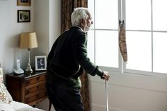 An elderly Indian man at the retirement house Royalty Free Stock Photo