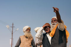 Elderly indian men talking with emotions Royalty Free Stock Images