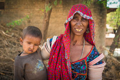 Elderly Indian woman and baby Stock Photography