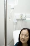 Elderly in inpatient infusion Royalty Free Stock Photo