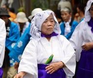 Elderly Japanese folk dancer Stock Photography