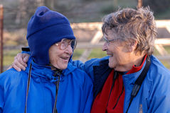 Elderly Ladies Laughing. Two old friends laughing and having a good time Royalty Free Stock Photos