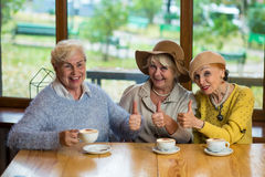Elderly ladies showing thumbs up. stock photo