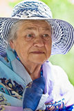 An elderly lady in a hat Royalty Free Stock Photo