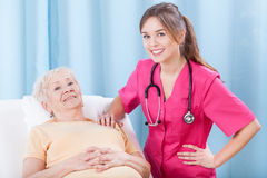 Elderly lady and her doctor Stock Images