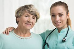 Elderly lady with her doctor Stock Photo