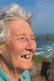 Elderly lady pensioner with dental problems and a tooth missing Stock Images