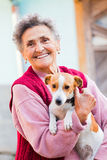 Elderly Lady with Pet. Happy elderly lady holding her little pet dog outdoors in the garden stock photos
