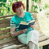 Elderly lady reads book Royalty Free Stock Photography