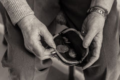 Free Elderly Lady`s Hands Checking Money In Her Purse. Royalty Free Stock Photography - 88437997