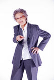 Elderly lady shows to you Royalty Free Stock Photo