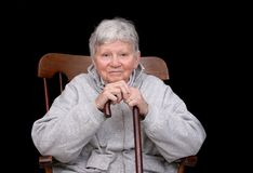 Elderly lady sitting Royalty Free Stock Image
