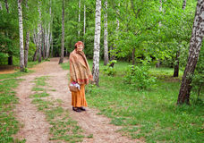 Elderly lady in Sofiyivsky Park. Uman city, Ukraine stock image