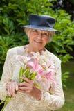Elderly lady in stylish vintage clothing Stock Photography
