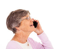 Elderly lady talking phone Stock Photos