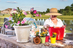 Elderly lady tending to her pot plants on a patio. Elderly lady in a wide-brimmed straw sunhat tending to her potted plants on an outdoor patio overlooking a Royalty Free Stock Images