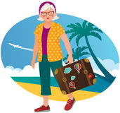 Elderly lady travels Stock Photography