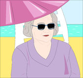 An elderly lady on vacation Royalty Free Stock Photo