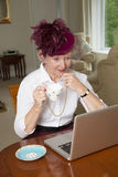 Elderly lady wearing a hat with veil using laptop Royalty Free Stock Image