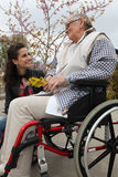 Elderly lady in a wheelchair Stock Image