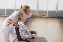 Elderly lady on wheelchair and her care giver. Disabled senior women  her nurse Stock Photography