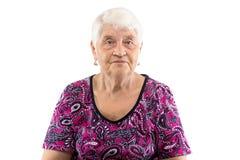 Elderly lady with white hair Stock Photos