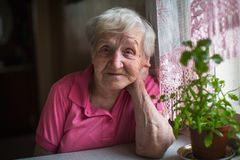 Elderly lone woman portrait in the kitchen. Royalty Free Stock Photography