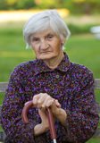 Elderly lonely woman Stock Photos