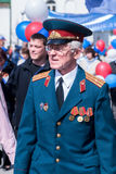 Elderly major-veteran of World War II. Tyumen, Russia - May 9. 2008: Victory Day in Tyumen. Elderly major - veteran of World War II near tribunes stock photos