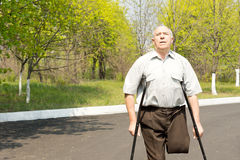 Elderly male amputee Stock Photography