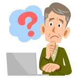 An Elderly male has a question about PC vector illustration