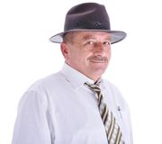 Elderly male person with a hat stock photography