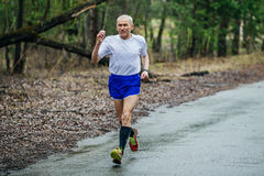 Elderly male runner athlete running in Park on way Stock Image