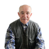 An elderly man. Half-length portrait of an elderly man isolated on white background Royalty Free Stock Photo