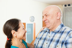 Elderly man with beloved woman Stock Image