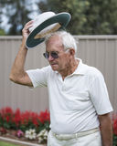 Elderly Man with Bowling Hat. Royalty Free Stock Image