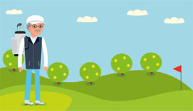 An elderly man came to the Golf course to play. Royalty Free Stock Photography