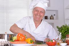 Elderly man chef Stock Image