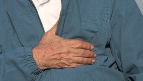 Elderly Man With Chest Pain Or Heart Condition stock video footage