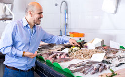 Elderly man choosing seafood in fish Royalty Free Stock Photos