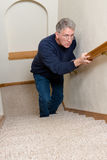 Elderly Man Climb Stairs, Scared, Confused Stock Photo
