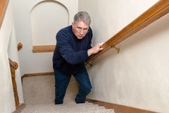 Elderly Man Climb Stairs, Scared, Confused Royalty Free Stock Photo