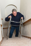 Elderly Man Climb Stairs, Walker Stock Photos