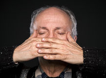 Elderly man with closed eyes Royalty Free Stock Images
