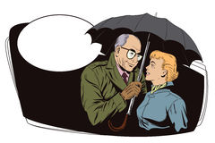 Elderly man closes the girl from the rain umbrella. Royalty Free Stock Images