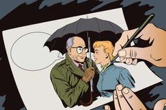 Elderly man closes the girl from the rain umbrella. Royalty Free Stock Photography